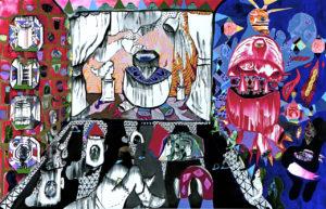 Behind the curtain, Arcylic on canvas